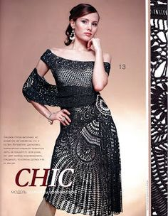 Miren este ostentoso vestido tejido en crochet.