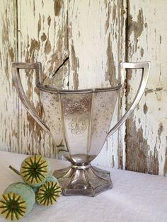 antique engraved silver vase antique monogram by HistoireAncienne