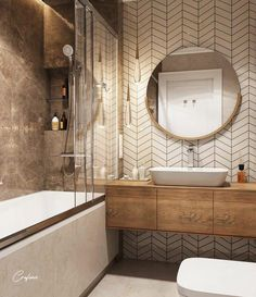 Inspiring small bathroom ideas and designs. Creative decoration suggestions for small bathrooms. Stylish and modern small bathroom designs. Luxury Bathtub, Bathroom Design Luxury, Modern Bathroom Design, Bathroom Designs, Small Bathroom Inspiration, Bathroom Ideas, Round Bathroom Mirror, Bathroom Renovations, Small Bathroom Furniture