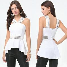 BEBE WHITE CAGE DETAIL FLOWY PEPLUM NEW NWT TOP SHIRT SMALL S