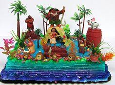 MOANA Birthday Cake Topper Set Featuring Various Characte...