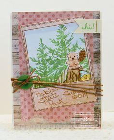 denamiaddict.blogspot.com: woodland scene featuring stamps from 3 Twenty Crafts (frame) and DeNami Design (sentiment, tree, beaver, tree stump & chickie gnome)