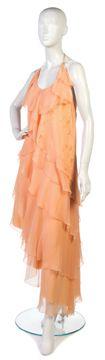 A Chloe Peach Silk Chiffon Two Piece Dress