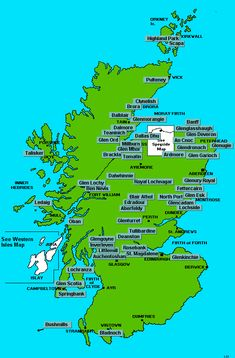 Map of Scotland whiskey distilleries. Very important to know when I go on my trip!  Someday.............