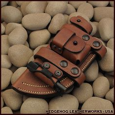 """Really interesting """"scout"""" style sheath for the Tom Brown Tracker knife. I like the pocket and firesteel retainer."""