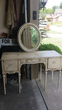 Desk I distressed. Found a mirror and made it match