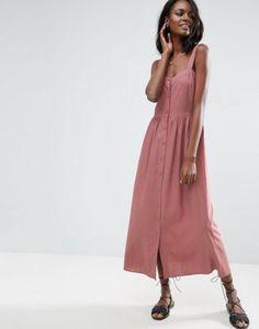 Платье макси из ткани с добавлением льна ASOS