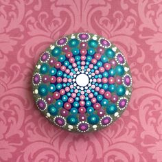 Jewel Drop Mandala Painted Stone sea urchin india by ElspethMcLean