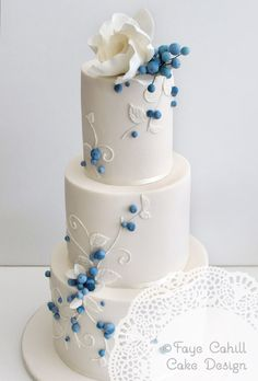 Delicate, blue and white cake. Love the accents of the small pretty blue berries. Beautiful Cake | Faye Cahill Cake Design