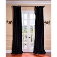Ebony Black Vintage Cotton Velvet Curtain | Overstock.com Shopping - Great Deals on EFF Curtains