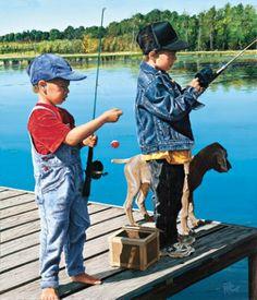 boys and weimaraner pup fishing