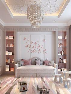 Bedroom False Ceiling Design, Bedroom Closet Design, Bedroom Decor, Kids Bedroom Designs, Kids Room Design, Bedroom Layouts, Apartment Interior, Luxurious Bedrooms, Girl Room