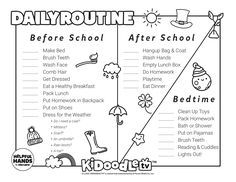 Tag @kidoodletv on Instagram with your customized Daily Routines to get featured! Routine Printable, Daily Routines, Do Homework, Clean Shoes, Activity Sheets, How To Make Bed, After School, Face Wash, Bedtime