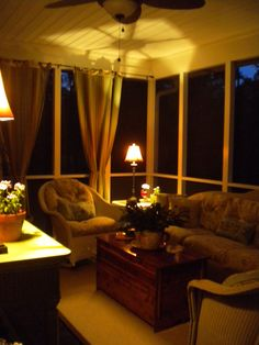 I love the coziness of a screened in porch!... I love this since now I have a screened in porch that has windows.