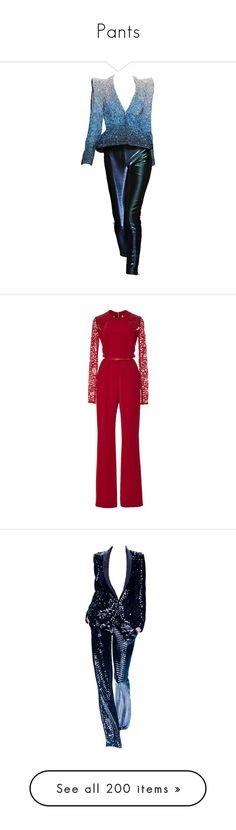 """""""Pants"""" by bliznec-anna ❤ liked on Polyvore featuring suits, dresses, outfits, blue, pants, jumpsuits, jumpsuit, elie saab, combi and elie saab jumpsuit"""