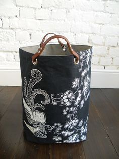 Large hand printed pure Linen Hamper
