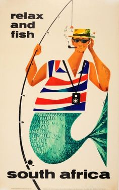 South Africa Relax and Fish 1950s - original vintage travel poster listed on AntikBar.co.uk