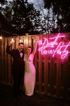 Michigan backyard wedding | Neon wedding sign | Till death do us party hot pink neon light sign | Wedding party ideas Wedding Day Inspiration, Wedding Ideas, Wedding Reception, Wedding Planning, Dream Wedding, Light Wedding, Geek Wedding, Wedding Shit, Wedding Stuff
