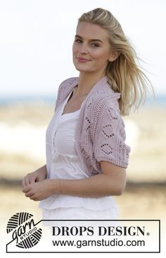 Soft Rime by DROPS Design. Shoulderpiece with lace pattern. Free #knitting pattern