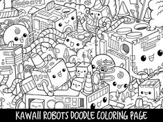 Printable Cute/Kawaii Robots Doodle Coloring Page for kids and adults.  ---------  Size: A4 Files: PDF and PNG (300dpi) Digital download  ---------  Download and print as many times as you want. Have fun coloring! :) Im always happy to see your colored-in page! Feel free to share it on
