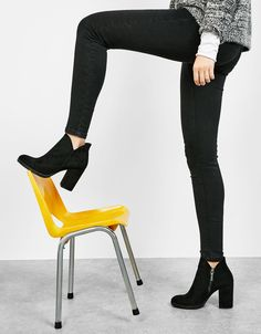 ankle boots with block mid-heel. Discover this and many more items in Bershka wi. ankle boots with Cute Ankle Boots, Knee Boots, Heeled Boots, Pretty Shoes, Cute Shoes, Me Too Shoes, Black Leather Shoes, Black Shoes, Leather Brogues