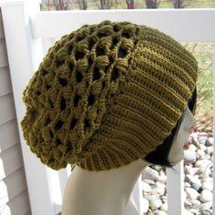 Crocheted Slouchy Beanie  Women  Teen  Unisex  Mesh by yarntwisted, $38.00