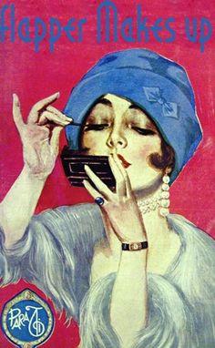 flapper makes up. Đây là phong cách make up của những flappers vào năm 1920 với trang điểm mắt đậm, đen, đôi môi đỏ, đeo nhiều trang sức, đội mũ hoặc khăn turban