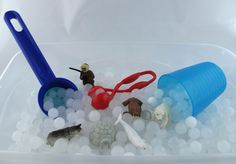 Frozen Sensory Bin Duo with White Water beads and instant snow- All Inclusive 2 in 1 Bin