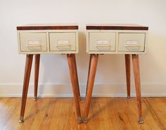 Pair of Mid Century Modern Inspired Card Catalog Side Tables or Nightstands
