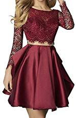 dcec65e16 online shopping for Little Star Satin Short Prom Dresses 2018 For Juniors  With Long Sleeve Homecoming Ball Gown from top store.