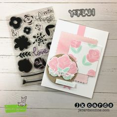 Mojo Monday 494. Lawn Fawn Fab Flowers and Happy, Happy, Happy Photopolymer and Coordinating Lawn Cuts, Lawn Fawn Scalloped Rectangles Stackables, Dotted Squares and Circles Stackables Lawn Cuts, Lawn Fawn Watercolor Wishes Petite Paper Pack.