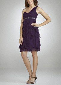 One Shoulder Dress with Cascade Ruffle Skirt