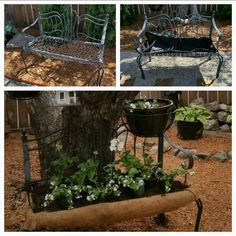 Dressing up an old patio chair with annuals!