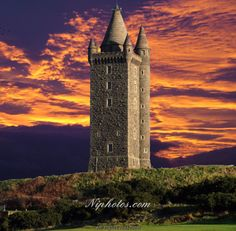 Sunset at Scrabo tower near Newtownards, Co Down, Northern Ireland.