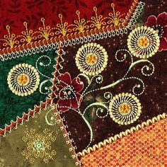 Crazy Quilt Embroidery by Machine | Crazy quilting by machine, not for me, but I do like this flower motif
