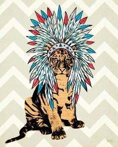 Ceremonial Tiger - adhesive wall art by WP House. 18x24, $20