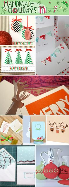 "Easy Handmade Christmas Cards - I really like the ""Reindeer Thumbprints"" idea. From ""Talk Crafty to Me"" blog."