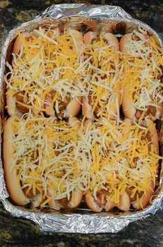 Baked chili cheese dogs