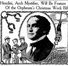 "Announcement of an appearance by Harry Houdini, published in the Salt Lake Telegram newspaper (Salt Lake City, Utah), 19 December 1915. Read more on the GenealogyBank blog: ""Houdini: Remembering the Magical Life of Erik Weisz."" http://blog.genealogybank.com/houdini-remembering-the-magical-life-of-erik-weisz.html"