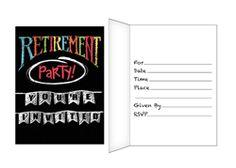 Chalkboard Retirement Party Invitations