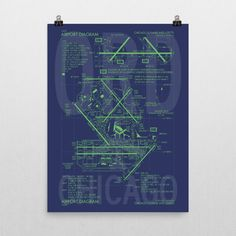 ORD Chicago (O'Hare) Airport Diagram Poster