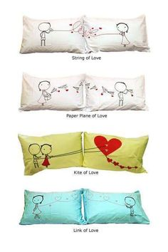 couple pillow cases craft-ideas- would be cute to keep one and give him the other Pillow Case Crafts, Pillow Cases, Cover Pillow, Sewing Crafts, Sewing Projects, Diy Projects, Couple Pillowcase, Bed Pillows, Cushions