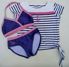 American Girl Bikini 7 S Shirt Purple Stripes Anchor Nautical Swimwear Set Swim #AmericanGirl #BikiniSet
