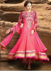 Net Embroidered and Patch Border Work Hot Pink Designer Salwar Kameez