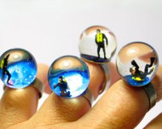 Diver in a tank. Resin ring. Resin jewelry. Modern jewelry. adjustable ring, nautical ring, miniature, OOAK