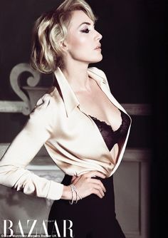 Miss Winslet in a photoshoot for Harper's Bazaar. I love the nude satin blouse and the black bra combo