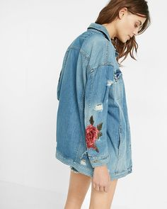rose embroidery denim boyfriend jacket