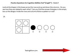 CogAT Form 7 practice question for Pre-K through Kindergarten