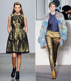 """From gold-flecked brocade styles that scream """"czarina"""" to completely rock 'n' roll glittering trousers, metallics have taken it to the next level — and beyond the requisite metallic accents typically seen in accessories. My favorite way to wear this trend? Swap your favorite colorful skinny jeans from spring and summer out for a metallic pair. Skinny jeans are a major curvy girl staple, giving great shape — especially when paired with a flowy, tunic-length top. Once the holidays roll around…"""
