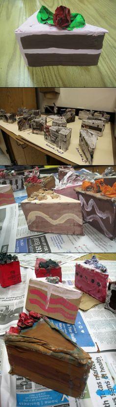 Papier Mache cake slices alla Wayne Thiebaud - created via http://pinthemall.net